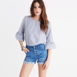 Madewell Striped 3/4 Bell Sleeve Top